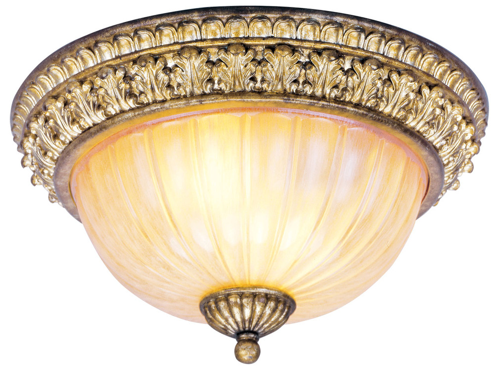 Vintage Gold Leaf Livex Lighting 8811-65 Wall Sconce with Crystal and Hand Crafted Gold Dusted Shades